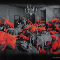 90's USA製 Sandy Skoglund FOTOFOLIO FOX GAMES Tシャツ ユース サイズ1416 黒 サンディ スコグランド フォックス ゲーム 芸術【deg】