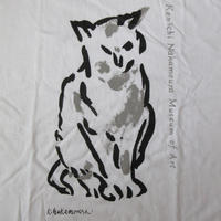 90's 日本製 中村研一 記念 美術館 ネコ 秀ちゃん Tシャツ M 白 洋画家 絵画 猫 秀二CAT帝展 日展 コタ・バル 太平洋