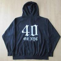 40oz NYC フルジップ パーカー XL 黒 フォーティーオンスHIP HOP グラフィック【deg】