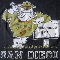 90's USA製 USMC ブルドッグ SAN DIEGO Tシャツ XL 黒 ブラック アメリカ海兵隊United States Marine Corps ARMYアーミー【deg】