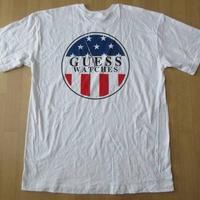 90's GUESS WATCHES星条旗 Tシャツ 白XL XXLゲスUSA HIP HOP RAP ゲスウォッチ グラフィック【deg】