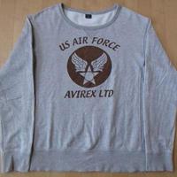 アヴィレックス US AIR FORCE ロゴ フロッキー プリント リバースウィーブ スウェット L グレー系AVIREXアメリカ空軍USAFトレーナー【deg】