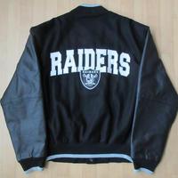 90's Oakland Raiders レザー パッチ 刺繍 袖革 スタジアム ジャケットS L~XL位 黒 オークランド レイダーズ 本革 スタジャン