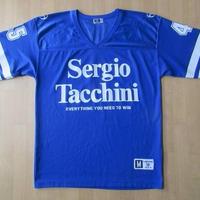 90's Sergio Tacchini ビッグシルエット デカロゴ入り フットボール シャツ Mブルー オーバーサイズ 大きい セルジオ タッキーニ アメフト【deg】