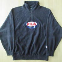 90's FILA 刺繍 ハーフジップ フリース ジャケット フィラ M 黒 大きい ビックシルエット【deg】