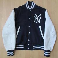 90's USA製 New York Yankees Empire NY アーチ ロゴ 袖革 スタジャン M ニューヨーク ヤンキース スタジアム ジャケット 本革MLB田中将大【deg】