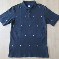 STUSSY スカル 刺繍 半袖 ポロシャツ L 黒 カットソー ショーン・ステューシー 【deg】
