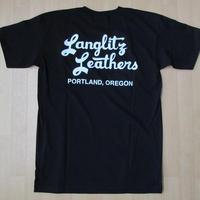 USA製 LANGLITZ LEATHERS バック 左胸 ロゴ Tシャツ M 黒 ブラック ラングリッツレザー 半袖 カットソー ハーレーダビッドソン バイク 【deg】