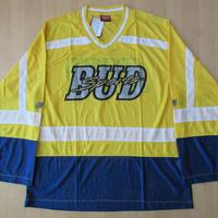 90's Budweiser SPORTS ビッグシルエット 薄手 メッシュ ホッケーシャツ L〜XL位 イエロー バドワイザー スポーツ ビールBUD SPORT【deg】