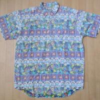 90's 日本製 ラングラー reyn spooner風 リゾート 花柄 半袖 BDシャツM Wrangler 裏生地 ハワイアン アロハ
