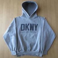 90's USA製 DKNY パーカー ヘザーグレー ダナ キャラン ニューヨークDonna Karan New Yorkフード スウェットNYCトレーナーJEANSダンス 【deg】