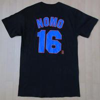 90's USA製 ニューヨーク メッツ Majestic 野茂英雄 #16 Tシャツ M 黒 ブラック New York Mets NYマジェスティック NomoトルネードMLB【deg】