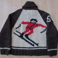 カナダ製 CANADIAN SWEATER スキーヤー SKIショールカラー カウチン セーターXS Sカナディアンセーター ニット ジャケットMADE IN CANADA 【deg】