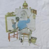 90's ノーマン ロックウェル Triple Self Portrait 三重の自画像 サンディエゴ美術館 Tシャツ M 白 Norman Rockwell 芸術 ART【deg】