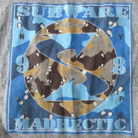 90's USA製 サブウェア ヘクティク コラボ デザートカモBOXロゴ Tシャツ M ヘザーグレー SUBWARE realmad HECTICボックス【deg】