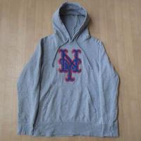 New York Mets ANTIGUA製 NYロゴ パッチ 刺繍 パーカー M グレー ニューヨーク メッツ アンティグア 松井稼頭央MLB スウェット【deg】