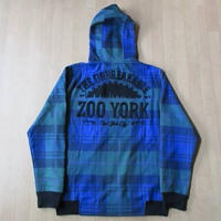 Zoo York バック 刺繍 チェック柄 フルジップ パーカー ズーヨーク フード スウェット トレーナーNYC Shut Skateboards Skates thrasher 【deg】