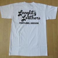 USA製 LANGLITZ LEATHERS バック 左胸 ロゴ Tシャツ M 白 ホワイト ラングリッツレザー 半袖 カットソー ハーレーダビッドソン バイク 【deg】