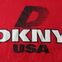 90's USA製 DKNY Tシャツ M レッド系 Donna Karan NYC ダナ キャラン ニューヨーク ビッグシルエット オーバーサイズ ダンス カットソー 【deg】