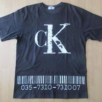 90's Calvin Klein Jeans デカCKロゴ バーコード Tシャツ L ブラック カルバンクライン ジーンズ ビッグシルエット オーバーサイズ ダンス【deg】