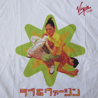 90's 非売品 日本製 Virgin Cola ラブ&ヴァージン フォト Tシャツ M~L位 白 コーラ 缶 カタカナ プロレス 技