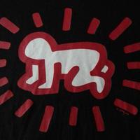 90's USA製 キース ヘリング POP SHOP Radiant Baby Tシャツ L ブラック 黒 Keith Haring AIDS エイズ 芸術 ART 現代美術【deg】