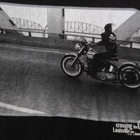 90's ダニー・ライアン FOTOFOLIO Crossing the Ohio フォト Tシャツ L 黒 ブラックDANNY LYON The Bikeridersバイク 写真家【deg】