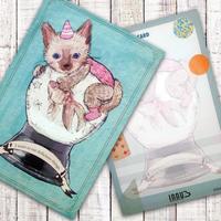ポストカード  金魚と猫