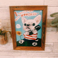 A4ポスター Telephone-White-french-bulldog(フレンチブルドッグ)