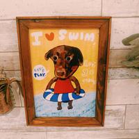 A4ポスター swimming  -Labrador Retriever(ラブラドールレトリバー)
