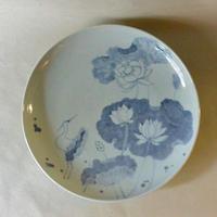蓮花鳥文9.5寸皿 079