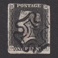 ペニーブラック:1840年 AS25(SG#1/3) PL5 DH