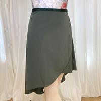 【ラップスカート 】プレミアムロングバックテイル38cm丈 カーキ<20116>