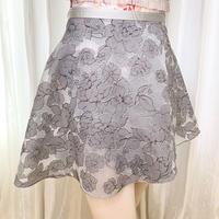 【ラップスカート 】ウッディローズ 38cm丈 グレー<20053>