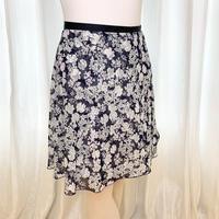 【sylphynes】バックテイルラップスカート ロングスクロール43cm丈 ハイドレンジアネイビー<20123>