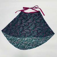 バックテイルラップスカート カットシフォン ペイズリー グリーン