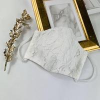 プレミアムシルク コットンボイル 3Dマスク ダリアレース  プリーツリボン  ホワイト
