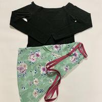 【Sylphynes】シルフィーヌ    セレクション 数量限定セット④-U ラウンドネック長袖Tシャツ+ラップスカート