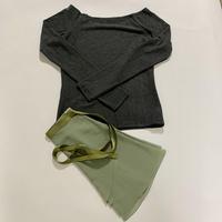 【Sylphynes】シルフィーヌ    セレクション 数量限定セット④-C ラウンドネック長袖Tシャツ+ラップスカート