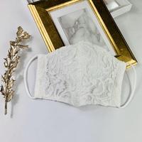 プレミアムシルク 3Dマスク  パステルレース  オプティカルリボン  ホワイト