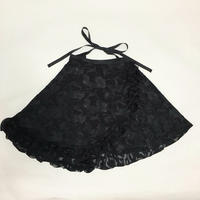 ハーフフリルラップスカート  カットシフォンカーネーション柄 ブラック