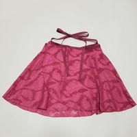 ラップスカート  カットジャカード ピンク リリー柄