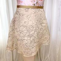 【ラップスカート 】ウッディローズ 38cm丈 ベージュ<20051>