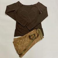 【Sylphynes】シルフィーヌ    セレクション 数量限定セット④-T ラウンドネック長袖Tシャツ+ラップスカート