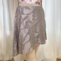 【ラップスカート 】カットジャガード リリーバックテイル38cm丈 ベージュ<20071>