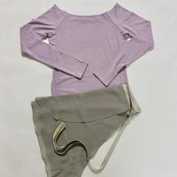 【Sylphynes】シルフィーヌ    セレクション 数量限定セット④-X ラウンドネック長袖Tシャツ+ラップスカート