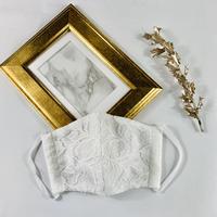 プレミアムシルク  3Dマスク チューリップレース  プリーツリボン  ホワイト
