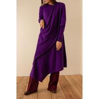 """【""""little $uzie"""" Original #3】Angola Cape Asymmetry Knit Dress (ls074)"""