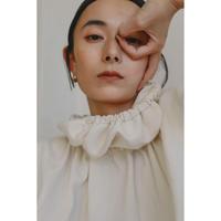 Cotton Doubleface Gather Collar Blouse(ls198T)