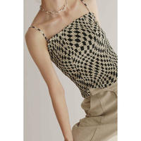 Psychedelic Checker Embroidery Bustier(ls12230T)